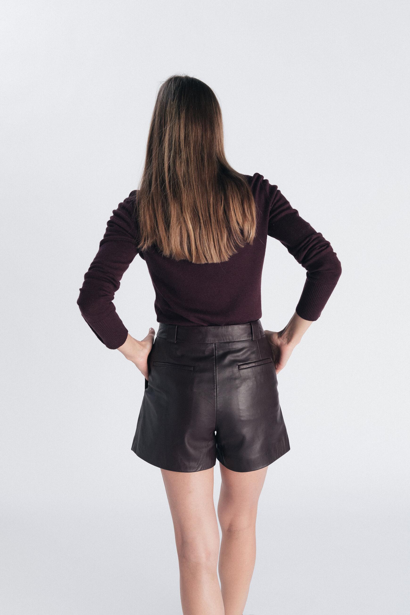 Short en cuir Ramsey : Short femme Bordeaux