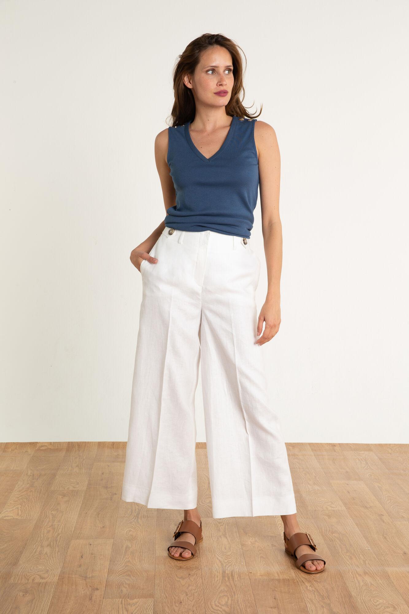 f6f9c94a3972d Pantalon en lin Ara : Pantalon femme Blanc en à 95.00 €