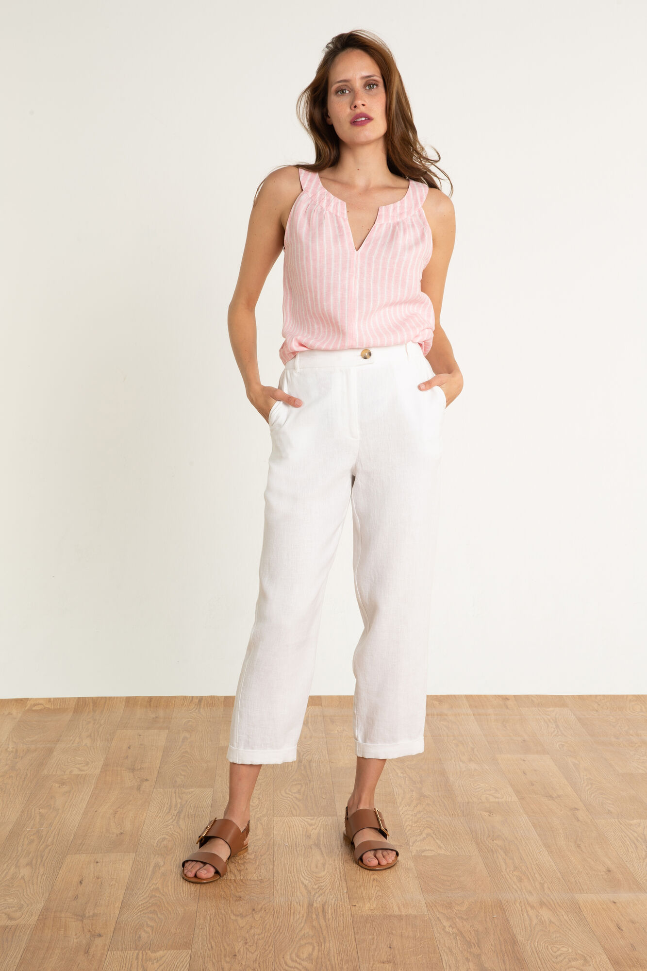 46c67b64b0503 Pantalon en lin Varadero : Pantalon femme Blanc en à 75.00 €