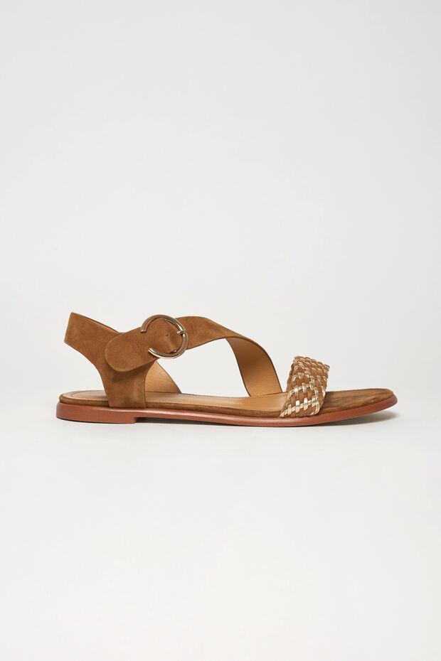 sandale lila 100% cuir - Caroll