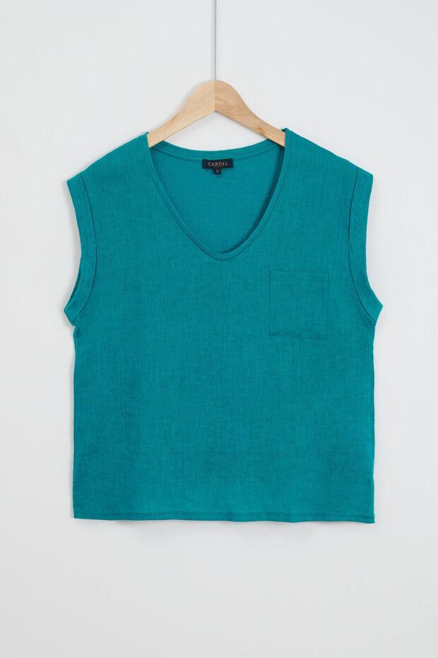 100% linnen T-shirt uit twee materialen Faustine - Caroll