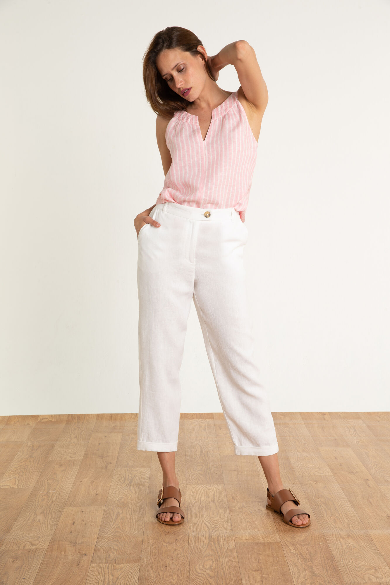 fd6c330911455 Pantalon en lin Varadero : Pantalon femme Blanc en à 75.00 €